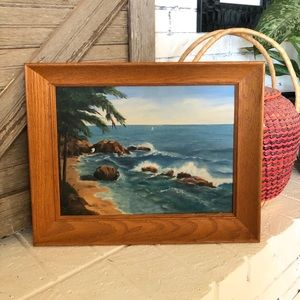 Vintage 50's Tropical Landscape Painting in frame
